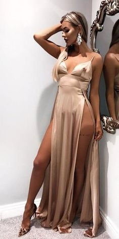 evening dresses Cheap Spaghetti Straps Side Split Simple Modest Sexy Prom Dresses, Evening The dresses are fully lined, chest pad in the bust, lace up back or zipper bac Dresses For Teens, Modest Dresses, Satin Dresses, Sexy Dresses, Fashion Dresses, Cheap Dresses, Blush Prom Dress, Fitted Prom Dresses, Sexy Maxi Dress