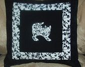 Pillow Cover Damask Cats 4 in Black and White