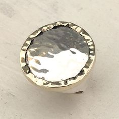 A large hammered silver ring with a golden hammered edge. Large range of sterling silver rings, earrings, necklaces and bracelets. Bold Jewelry, Silver Jewellery, Sterling Silver Jewelry, Unique Jewelry, Hammered Silver, Statement Rings, Jewelry Collection, Artisan, Earrings