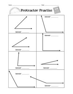 Protractor Practice Worksheet - simple measuring angles practice