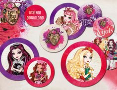 INSTANT DOWNLOAD - Ever After High, 2 Inch Circles, Stickers, Cupcake Toppers, Tags, bottle cups, birthday party, digital file, printable.
