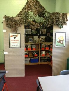 Anderson shelter book corner Reading Corner Classroom, New Classroom, Classroom Ideas, School Library Displays, Classroom Displays, World War 2 Display, Anderson Shelter, Activity Based Learning, Teaching Displays