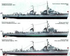 Russian Destroyers, 1943, 1958 & 1959.