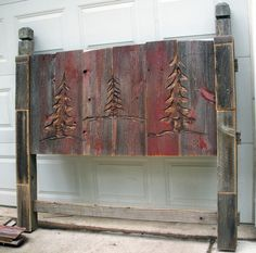 Barn wood Head board i could totally do this with a router!