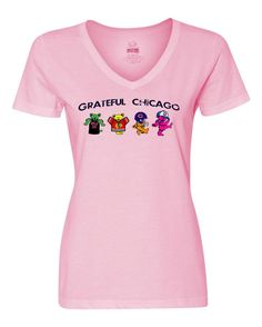 This Chicago Sports Grateful Dead Dancing Bears sport the Bulls, Blackhawks, Bears, and Cubs gear. The text on the shirt uses an artsy, distressed