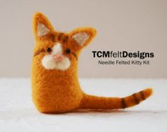Needle Felting Kit Fox wool DIY complete fiber por TCMfeltDesigns