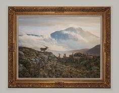 Framed original oil painting of red deer. View to Ben Vorlich by Loch earn, Perthshire, Scotland.