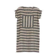 Enkidu Dress - Natural and Black Stripes Rennes