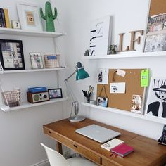 Ikea 'Ekby/Gällö' wall shelf & 'Ribba' picture ledges in work space Guest Room Office, Home Office Space, Ikea Ekby, Dream Desk, Tiny Bath, Loft Room, Contemporary Interior Design, Closet Bedroom, Wall Shelves