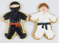 Ninja and Karate Kid Cookies Karate Cake, Karate Boy, Karate Party, Karate Birthday, Ninja Birthday Parties, Cookies For Kids, Cut Out Cookies, Cute Cookies, Cupcake Cookies