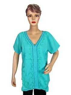 Boho Designer Tops Turquoise Embroidered Blouse Cotton Summer Wear Shirt Medium Size for Women Mogul Interior. $16.99