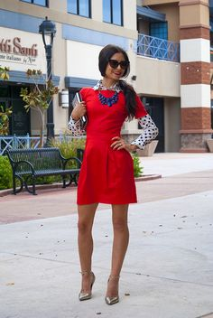 What a great way to make multiple outfits from the same dress! I never think to put a collared shirt underneath.