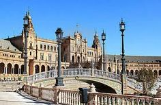 Moat at Plaza de Espana in Seville, Spain