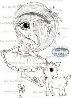 INSTANT DOWNLOAD Digital Digi Stamps Big Eye Big Head Dolls Digi  My - Besties Blakely Ann Pet Party By Sherri Baldy