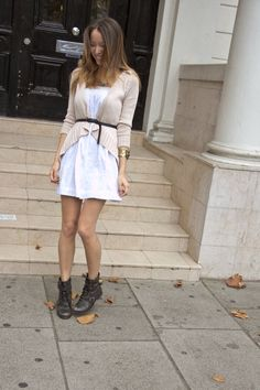 White summer dress and boots