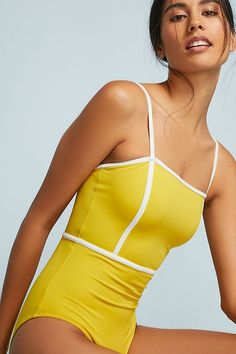 Slide View: 1: Solid & Striped Lexi One-Piece Swimsuit