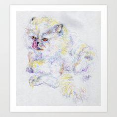 Grouchy Fluffy Cat Just Takin' a Bath by Anna Hartshorn