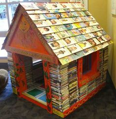 This charming book house is in the Iowa Public Library, but could be created in a childrens room.