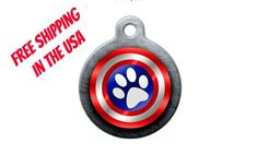 Captain America Pet Engraved Pet ID Tag by BlackDogEngraving