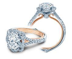 COUTURE-0426OV-TT engagement ring from the Couture Collection, featuring a rose gold profile and 0.45Ct. of round brilliant diamonds to enhance an oval diamond center.  Available in Gold and Platinum. Starting Price: $3,500