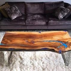 Double waterfall live edge river coffee table with glowing | Etsy
