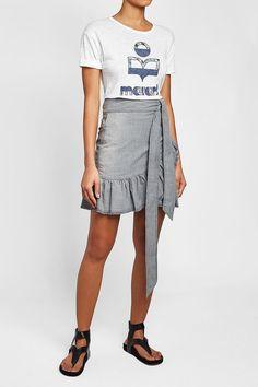 ISABEL MARANT ÉTOILE - Lindy Denim Skirt | STYLEBOP Grey Style, Grey Fashion, Shirt Dress, T Shirt, Isabel Marant, Denim Skirt, Skirts, Shopping, Dresses