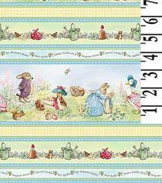 Beatrix Potter Pierre Lapin coton tissu pépinière victorienne frontière rayures BTY