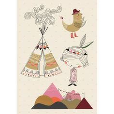 """Poisson Bulle: Swantje & Frieda A3 Wall Sticker """"Tipi Fille"""""""