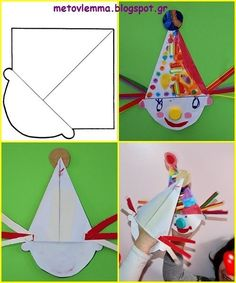 Clown Crafts, Circus Crafts, Carnival Crafts, Easy Crafts For Kids, Diy For Kids, Diy And Crafts, Paper Crafts, Paper Christmas Decorations, Diy Birthday