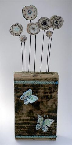 Butterflies by Shirley Vauvelle in Wall Hung Archive, Sculpture using Earthenware driftwood. Ceramic Flowers, Clay Flowers, Wire Crafts, Clay Crafts, Ceramic Clay, Ceramic Pottery, Shattered Glass, Paperclay, Assemblage Art