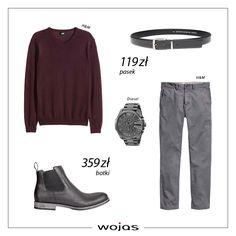 Klasyczny sweter w kolorze burgundu świetnie współgra z popielatymi spodniami. Szary pasek (5964-50) i sztyblety (4205-91) Wojas to doskonałe uzupełnienie męskiej stylizacji.