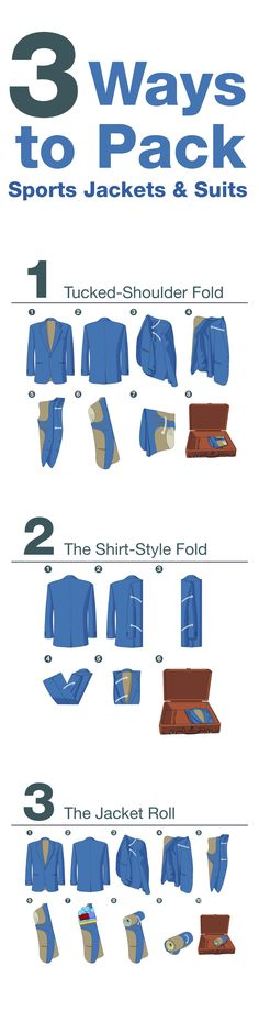 3 WAYS TO pack sports jackets and suits.