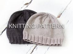 Knitting Pattern  Classic Aran Beanie Hat  by BlueberryBarnDesigns