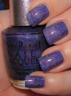 "Designer Series OPI ""Glamour"": sheer cornflower blue with strong holo shimmer Gorgeous Nails, Pretty Nails, Hair And Nails, My Nails, Purple Nails, Glitter Nails, Purple Glitter, Gradient Nails, Rainbow Nails"