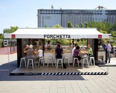 porchetta shipping container kiosk by noiseux + sasseville
