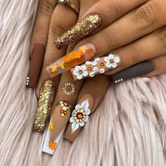 Halloween Acrylic Nails, Bling Acrylic Nails, Best Acrylic Nails, Rhinestone Nails, Hot Nail Designs, Cute Acrylic Nail Designs, Nail Swag, Nagel Bling, Fire Nails