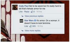 The 'Star Wars' Facebook page just replied obviously and correctly to a sexist…