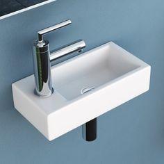 NEG Waschbecken Uno41H (extra klein/eckig/Armatur links) Hänge-Waschschale/Waschtisch (weiß) mit hohem Rand und Nano-Beschichtung-36770522