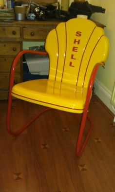 Mid century vintage art deco Shell Oil chair 20s/30s/40s US gas station Eames
