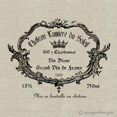 Vintage French Wine Label. Image No.27, Digital Download Iron-On Transfer to Fabric (burlap, linen) Paper Prints (cards, tags). $1.00, via Etsy.