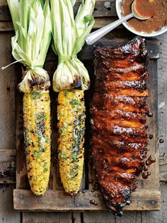 Sticky pork ribs cooked in sticky smoked paprika, bathed in a beautifully delici. - Sticky pork ribs cooked in sticky smoked paprika, bathed in a beautifully delicious homemade barbec - Rib Recipes, Grilling Recipes, Cooking Recipes, Healthy Recipes, Vegan Grilling, Smoker Recipes, Recipes Dinner, Dessert Recipes, Cooking Corn