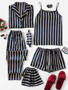 Shop Satin Striped Cami PJ Set With Shirt online. SHEIN offers Satin Striped Cami PJ Set With Shirt & more to fit your fashionable needs. Cute Pajama Sets, Cute Pajamas, Silk Pajamas, Pyjamas, Pj Sets, Cute Sleepwear, Sleepwear Women, Loungewear, Sleepwear Sets