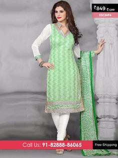 Green And White New Chanderi Suit @ Rs 849/- Only Shop Now :- http://www.enasasta.com/deal/green-and-white-new-chanderi-suit OR Call/WhatsAp-8288886065  Product Info ESC34P4  Deal is Valid For Today Only  Fabric Top: Chanderi Cotton  Bottom: Cotton  Dupatta : Nazneen Print  Fabric Semi Stitched  Get 5 % Extra Discount for Advance Payment via PayUMoney  Cash On Delivery Available !! FREE Shipping All Over India!!