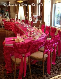 Anna Chair Cover & Wedding Linens Rental Burnaby Bc Minnie Mouse Saucer 84 Best Fuchsia Decorations Images 15 Years Sashes Yes I Looooove This Set Up Not So Much The Color A Pink Fan But Love Reception Covers
