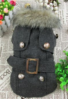 Gray Europe Style Quilted Pet Dogs Winter Coat Free Shipping Coat for Dog