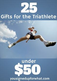 25 gifts for the triathlete under $50 - gift guide for triathlon, running, swimming, cycling, biking, fitness, athletes for holidays.