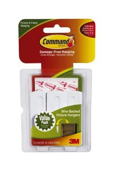 Command Wire-Backed Picture-Hanging Hooks, 3-Hanger by Command. $5.36. Amazon.com                  3M Adhesive Technology 3M Command products offer simple, damage-free hanging solutions for many projects in your home and office. Simplify decorating, organizing, and celebrating with an array of general and decorative hooks, picture and frame hangers, organization products, and more.Thanks to the innovative Command Adhesive strips, you can mount and remount the bundler...