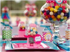 Colorful Gumball Party ~ Mini gumball machine favors doubling as placecards