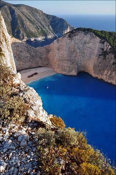 """Navagio Beach, Zakynthos, Greece. (Was this where """"The Beach"""" starring Dicaprio was filmed?)"""