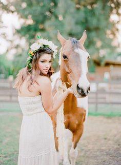 Bohemian bride with her horse  #cowgirl #wedding #cowgirlwedding #countrywedding     http://www.islandcowgirl.com